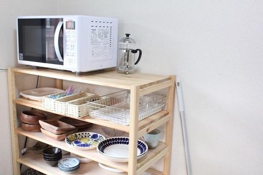 食器はユニットシェルフに収納。写真に写っているものがほぼ全て(来客用は別)というから徹底的!
