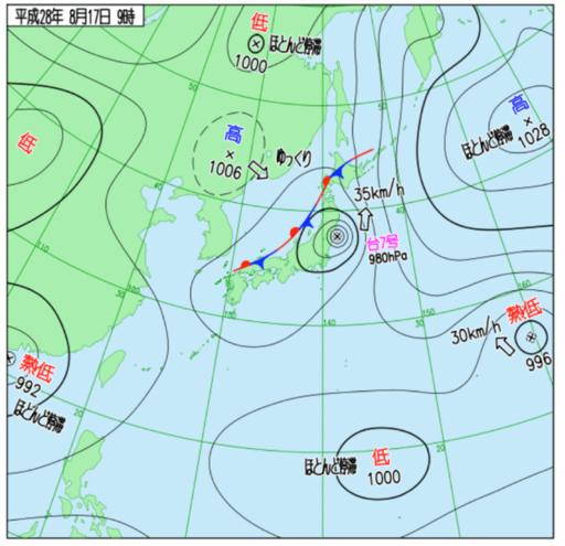 2016年8月17日9時の天気図。この日、東日本から北日本にかけて総降水量600㎜を超える大量の雨が降り、河川の氾濫、浸水害、土砂災害等が発生した(出所:気象庁HP)