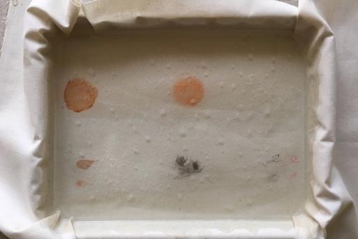 オキシ溶液を注入するとプツプツと小さな泡が現れた