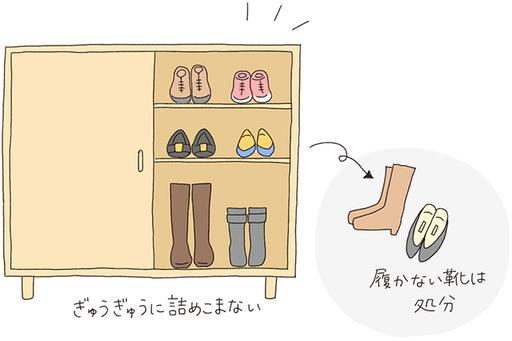 玄関の下駄箱の中にある履いている靴、履いていない靴を捨てて整理整頓を!