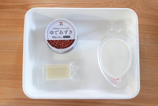 ゆであずき(缶)/餅 /牛乳でミルクしるこ