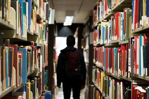 図書館の棚は、不思議なわくわく感に包まれている