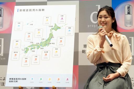 「寒暖差肌荒れ指数」を紹介する、日本気象協会の気象予報士・安斎理沙さん
