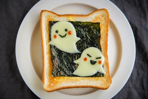 かわいいおばけちゃんトーストの完成!