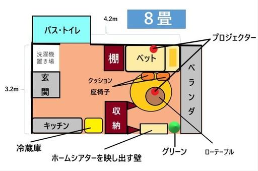 ワンルームや1Kの部屋でも、この配置を真似すればホームシアターを快適に楽しめる