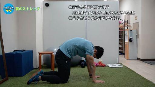 四つん這いの姿勢になり、「自分の背中(腰)が丸められるか」を確認。両手の位置は肩の真下、膝は腰の下に