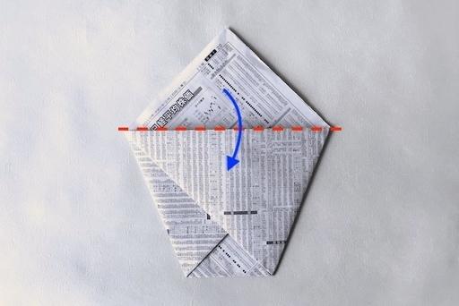 三角部分は2枚重ねになっているので、前と後ろに1枚ずつ倒す