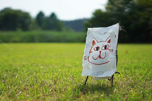 拾った枝で長女が作ったイーゼルと、現地で出会った野良猫の絵