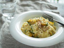 レンジで簡単一品料理。かぼちゃのクリームリゾットのレシピ