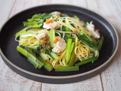 【きょうの健康レシピ】小松菜と鶏ささみの和風スパゲティ 梅風味…皮膚や粘膜の健康に
